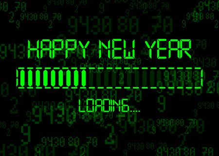 Happy new year with loading icon Display progress bar almost reaching new years eve 2020. Isolated on Abstract Binary Computer Code Technology Background