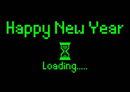 Happy new year with loading icon pixel art bitmap style. Progress bar almost reaching new years eve. Green neon Vector flat design 2020 loading pixel hourglass cursor. Isolated or black background Çizim