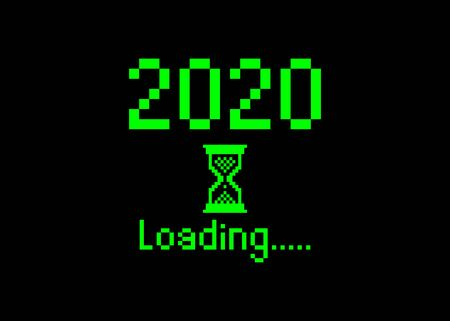 Happy new year 2020 with loading icon pixel art bitmap style. Progress bar almost reaching new years eve. Green Vector flat design 2020 loading pixel hourglass cursor. Isolated or black background