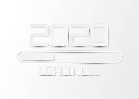 Happy 2020 new year card loading on white paper Vector illustration