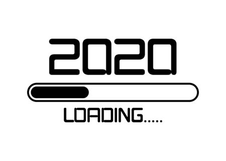 Happy new year 2020 with loading icon flat style. Progress bar almost reaching new year's eve. Vector illustration with 2020 loading. Isolated or white background 矢量图像