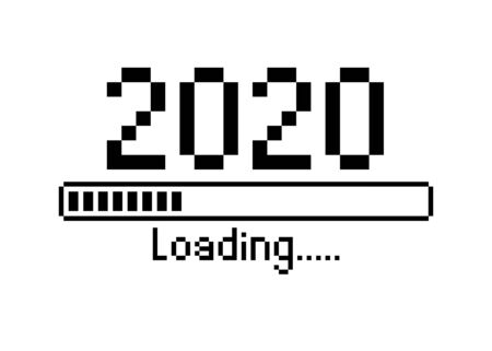 Happy new year 2020 with loading icon pixel art bitmap style. Progress bar almost reaching new year's eve. Vector flat design illustration with 2020 loading. Isolated or white background
