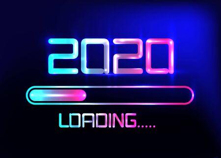 Frohes neues Jahr 2020 mit Ladesymbol im blauen Neonstil. Fortschrittsbalken erreicht fast Silvester. Vektorillustration mit Laden 2020. Isolierter oder dunkelblauer Hintergrund Vektorgrafik
