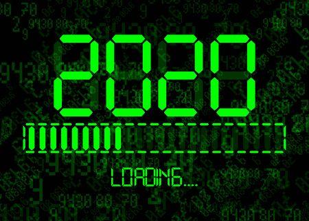 Felice anno nuovo 2020 con icona di caricamento in stile tempo digitale al neon a led verde piatto. Visualizza la barra di avanzamento quasi alla vigilia di capodanno. Isolato su sfondo astratto di tecnologia del codice binario del computer