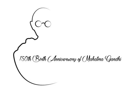 150th Birth Anniversary of Mahatma Gandhi, single line creative sketch vector illustration for 2nd October Gandhi Jayanti with beautiful and beautiful design, vector isolated on white background Çizim