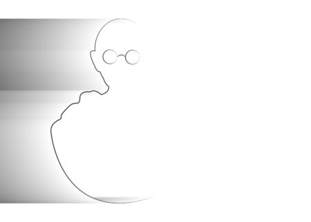 single line sketch of man with round glasses