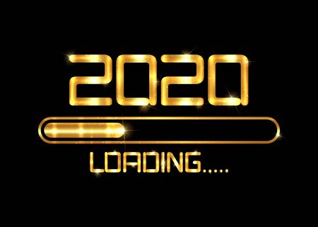 Gold Happy new year 2020 with loading icon golden fashion style. Progress bar almost reaching new year's eve. Luxury shiny metal vector illustration with 2020 loading. Isolated, black background