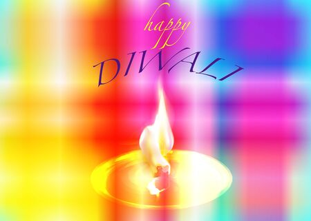 Happy Diwali. Traditional Indian Festival Background of Indian colors with Burning Lamp, vector illustration Çizim