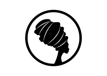 portrait beautiful african woman in traditional turban, black women vector silhouette isolated, round logo design hairstyle concept, headdress Afro style icon