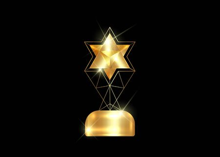 gold star trophy award concept, vector isolated or black background