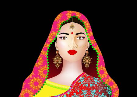 Beautiful indian brunette young woman in colorful sari with luxury gold jewelry. Bollywood star traditional fashion. Precious Wedding brides outfit. Vector illustration isolated or black background