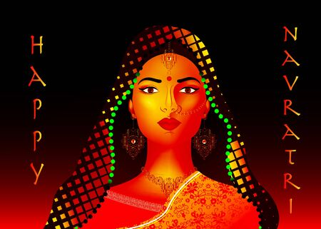 Indian ethnic woman dancer for Happy Navratri Celebration Poster Or Banner Background Illustration
