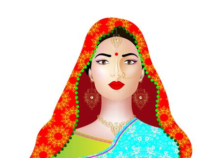 Beautiful indian brunette young woman in colorful sari with luxury gold jewelry. Bollywood star traditional fashion. Precious Wedding brides outfit. Vector illustration isolated or white background Иллюстрация