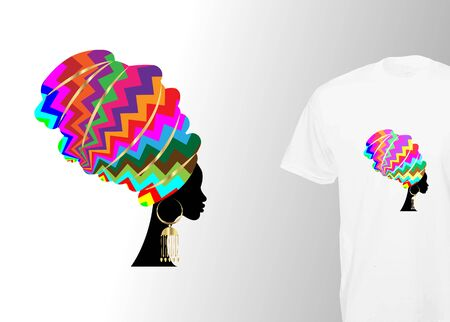 Afro Woman Turban print. Stylish t-shirt and modern design with colorful African headdress, vector isolated. Global swatches, Design Templates, Ideas, and Inspiration for printing Иллюстрация