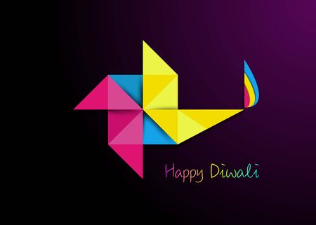 Happy Diwali Celebration in Origami style Graphic design of Indian Diya Oil Lamp in pinwheel shape, Paper cut Flat Design. Colorful Festival of Lights. Vector isolated on dark purple background