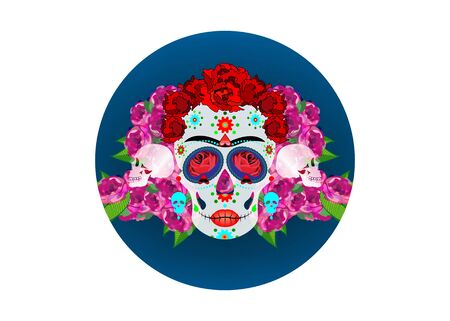 Mexican skull Calavera with flowers. Decoration for Day of the Dead, Dia de los Muertos. Halloween poster background, greeting card or t-shirt design. Vector skulls diadem isolated on white background