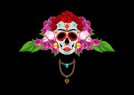Mexican skull Calavera with flowers. Decoration for Day of the Dead, Dia de los Muertos. Halloween poster background, greeting card or t-shirt design. Vector skulls diadem isolated on black background
