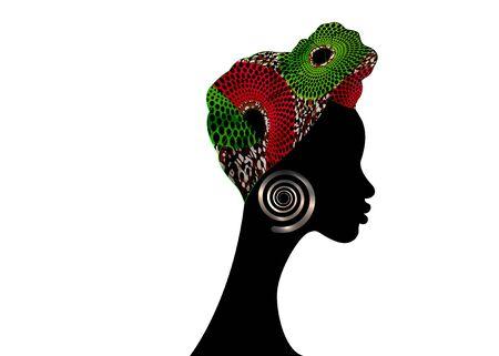 portrait beautiful woman. Shenbolen Ankara Headwrap Women African Traditional Headtie Scarf Turban. Colorful Kente head wraps African fabric design.