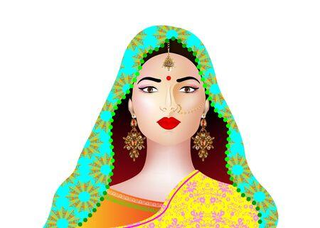 Portrait of beautiful indian girl. Young hindu woman model with kundan jewelry set. Traditional India costume lehenga choli or sari. Vector isolated on white background