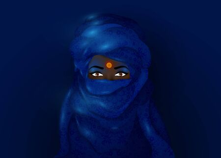 Portrait of beautiful woman wearing blue tuareg scarf. Young girl in national costume of African tribal nomads. Berber women in blue ethnic Turban and ancient clothes, vector blue night background