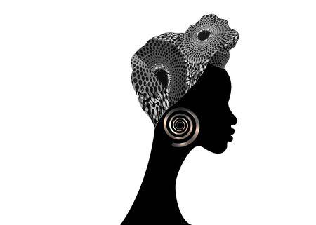 portrait beautiful woman. Shenbolen Ankara Headwrap Women African Traditional Headtie Scarf Turban. Ethnic Kente head wraps African fabric design.