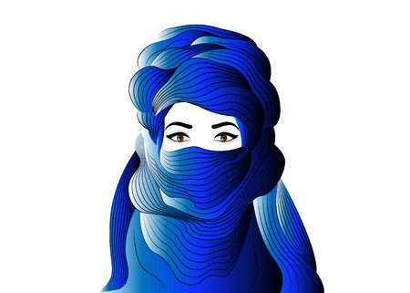 Portrait of beautiful woman wearing blue tuareg scarf. Young girl in national costume of african tribal nomads. Blue ethnic Turban and ancient clothes vector isolated or white background  イラスト・ベクター素材