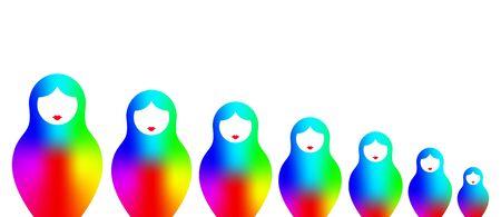 Russian nesting dolls matryoshka, set icon colorful symbol of Russia, rainbow color gradient spectral colored fashion style, vector isolated on white background