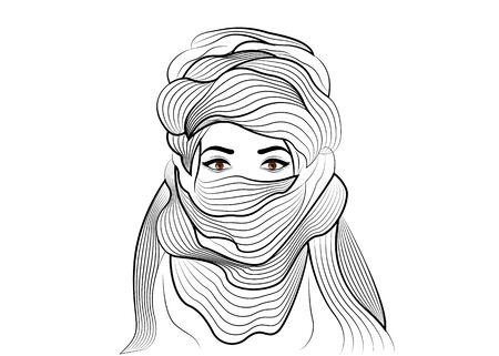 Boceto dibujado mano de mujer con bufanda tuareg. Chica joven en traje nacional de nómadas tribales africanos. Turbante bereber étnico y ropa antigua vector aislado o fondo blanco Ilustración de vector