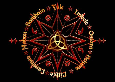 names in Celtic of the Solstices. Book Of Shadows Wheel Of The Year Modern Wiccan Paganism. Wiccan calendar and holidays. Compass with in the middle Triquetra symbol from charmed Celtic