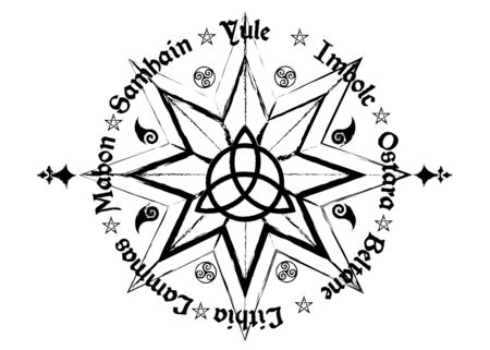 names in Celtic of the Solstices. Book Of Shadows Wheel Of The Year Modern Wiccan Paganism. Wiccan calendar and holidays. Compass with the middle Triquetra symbol from charmed Celtic isolated