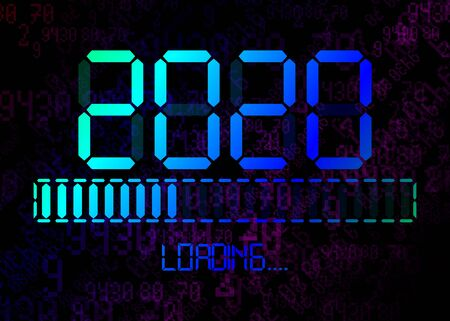 Happy new year 2020 with loading icon in flat colorful led neon digital time style. Display progress bar almost reaching new years eve. Isolated on Abstract Binary Computer Code Technology Background Ilustração