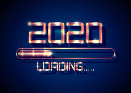 Gold Happy new year 2020 with loading icon golden fashion style. Progress bar almost reaching new years eve. Luxury shiny metal vector illustration with 2020 loading. Isolated, dark blue background