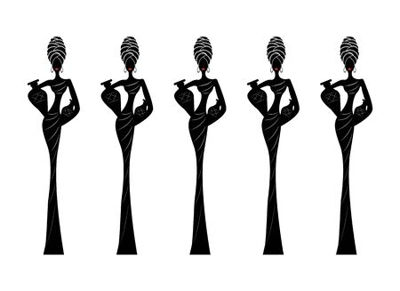 Silhouette of Afro women. African woman with a Turban and amphorae. Traditional Kente head wrap African, Africa icon head scarf. Vector loop label illustration isolated on white background Иллюстрация