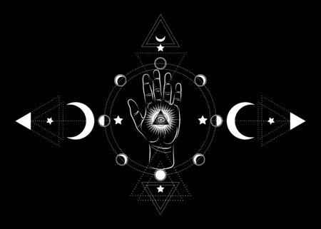 icône spirituelle ésotérique de la main du troisième œil. Pyramide sacrée de la connaissance, un œil qui voit tout. Géométrie mystique les phases de la lune. Oeil de symbole maçonnique à l'intérieur de l'icône de déesse de lune Wicca païenne triple lune isolée