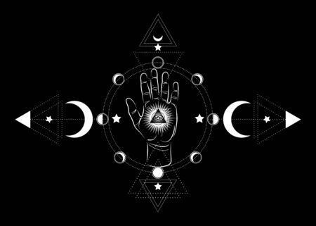 third eye hand esoteric spiritual icon. Sacred pyramid of knowledge, an all-seeing eye. Mystical geometry the moon phases. Masonic symbol eye inside triple moon pagan Wicca moon goddess icon isolated