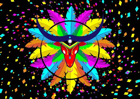 Carnaval de Barranquilla, Colombian carnival party. Vector illustration, poster and flyer. Logo Cartoon Bull Mask Icon with colorful feathers. Isolated or black and multicolor confetti background