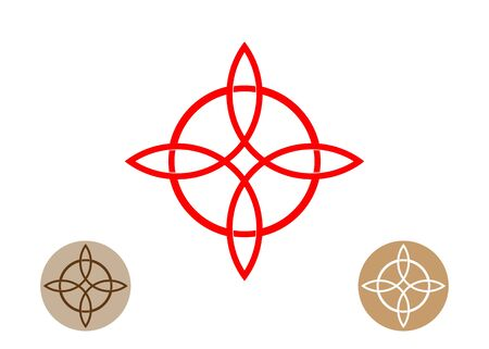 Celtic like style linear star with circle symbol. Linear knot logo, Red Trinity Knot, Wiccan symbol for protection. Vector Celtic trinity knot isolated on white. Wiccan Ancient occult divination icon Фото со стока - 131917134