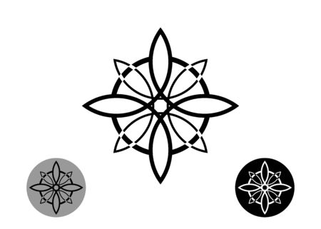 sacred flower, Celtic like style linear star with circle symbol. Linear knot logo, Wiccan symbol for protection, mystical geometry. Set Wicca Ancient occult divination icon. Vector isolated on white  イラスト・ベクター素材