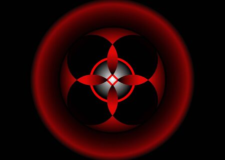 sacred flower, Celtic like style linear star with circle symbol. Linear knot logo, Wiccan symbol for protection, mystical geometry. 3D Wicca Ancient occult divination icon. Vector isolated on black