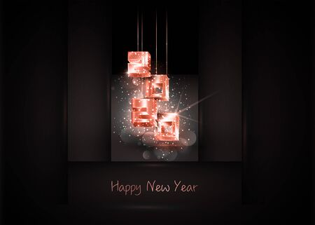 2020 Happy New Year banner with hanging pink gold 3d numbers 2020 on luxury black geometric background. Fashion party, vector illustration with Golden particles, sparkle stardust. Place for text Ilustração