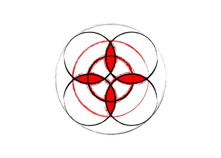 sacred flower, Celtic like style linear star with circle symbol. Linear knot logo, Wiccan grunge for protection, mystical geometry. Wicca Ancient occult divination icon. Vector isolated on white