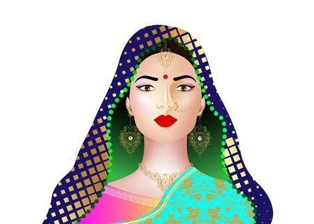 Beautiful indian brunette young woman in colorful sari with luxury gold jewelry. Bollywood star traditional fashion. Precious Wedding brides outfit. Vector illustration isolated or white background Illustration