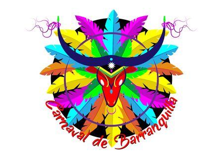 Carnaval de Barranquilla, Colombiaans carnavalsfeest. Vectorillustratie, poster en flyer. Logo Cartoon Bull masker icoon met kleurrijke veren. Geïsoleerde of witte achtergrond Logo