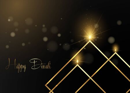 Elegant luxury gold Happy Diwali Indian lights festival black greeting card template. Hindu Diwali golden ornament and candle light flame, burning oil lamp night effect, isolated on black background 일러스트