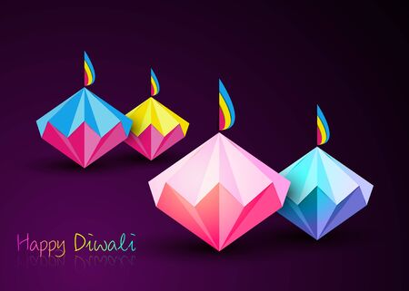 Happy Diwali Celebration in Origami style Graphic design of Indian Diya Oil Lamps in diamond shape, folded paper Flat Design. Colorful Festival of Lights. Vector isolated on purple background 일러스트