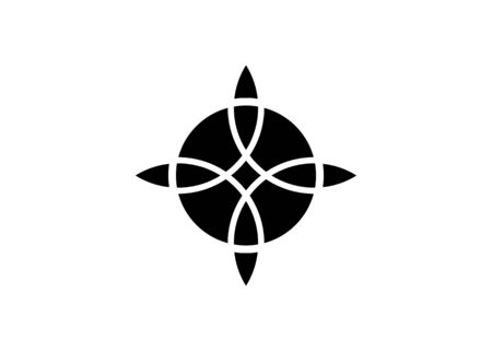 sacred flower, Celtic like style linear star with circle symbol. Linear knot logo, Wiccan tattoo for protection, mystical geometry. Wicca Ancient occult divination icon. Vector isolated on white  イラスト・ベクター素材