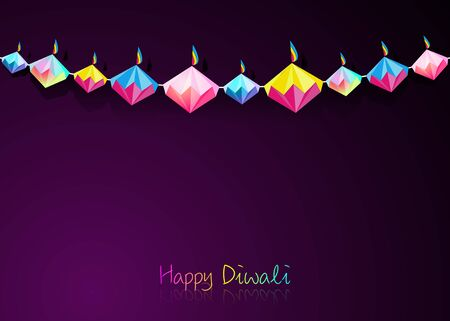 Happy Diwali Celebration Indian bunting in Origami style Graphic design of Indian Diya Oil Lamps in diamond shape, folded paper Flat Design. Colorful Festival of Lights. Vector isolated on purple