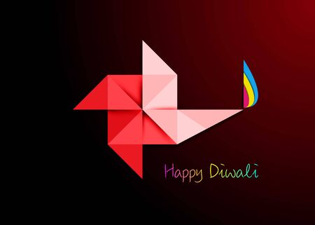 Happy Diwali Celebration in Origami style Graphic design of Indian Diya Oil Lamp in pinwheel shape, Paper cut Flat Design. Colorful Festival of Lights. Vector isolated on dark red background
