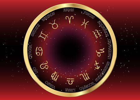 the golden wheel of the zodiac, astrological signs, gold image of horoscope. Horoscope zodiac signs. Astrology symbols set. Dark red night sky and stars, vector black background