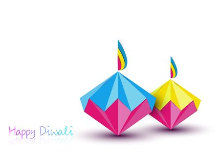 Happy Diwali Celebration in Origami style Graphic design of Indian Diya Oil Lamps in diamond shape, folded paper Flat Design. Colorful Festival of Lights. Vector isolated on white background